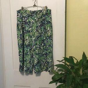 Green print culottes.
